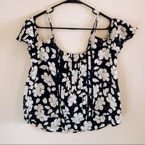 Abercrombie & Fitch Floral Cold Shoulder Top
